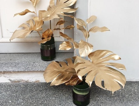 Gold-Sprayed Monstera Leaf Cocktail Arrangement