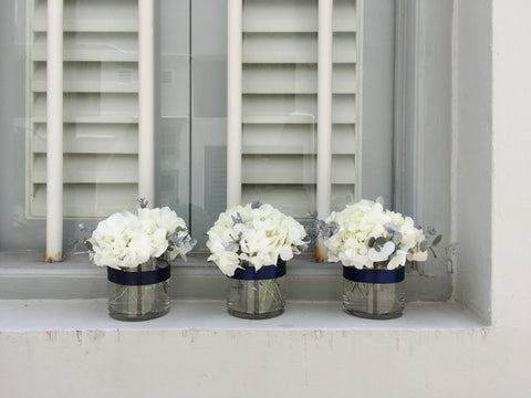 White Hydrangea & Dusty Millers Cocktail Arrangement