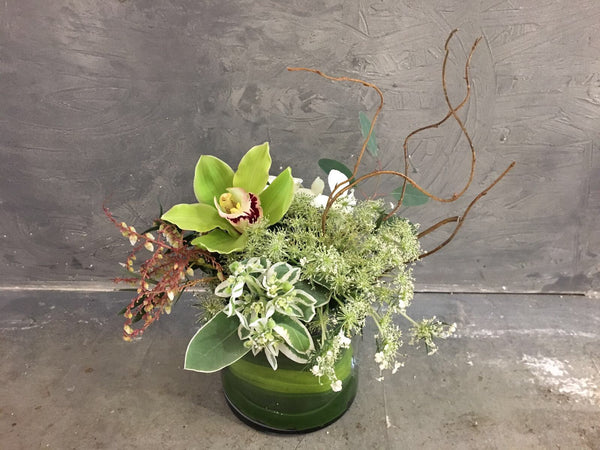 Green Cymbidium Rustic Cocktail Arrangement