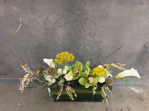 Green Cymbidium Rustic Table Arrangement