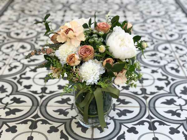 Faux White Peonies In A Flared Vase
