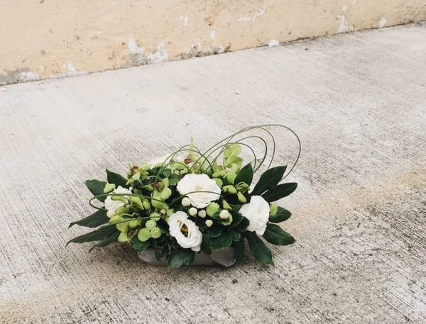 Green Dendrobium, White Eustoma & Bear Grass Table Arrangement