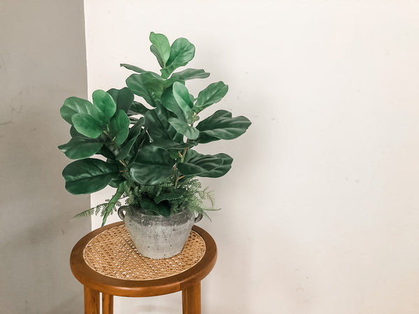 Faux Fiddle-Leaf Fig In A Grey Pot