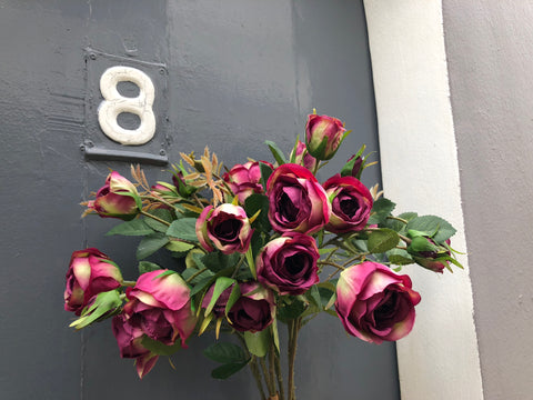 Faux Spray Roses - Burgundy