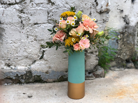 **From The Flower Fields - Turquoise Ceramic Vase**