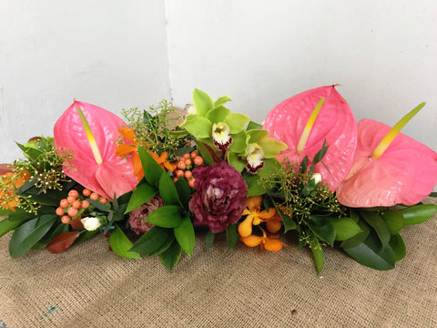 Pink Anthurium, Green Cymbidium & Mokara Orchid Table Arrangement