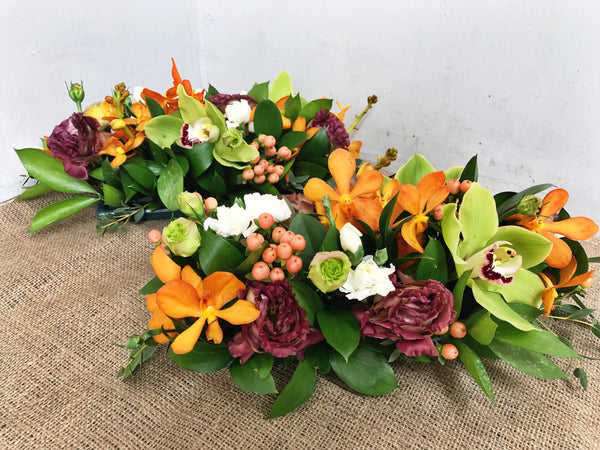 Green Cymbidium & Mokara Orchid Table Arrangement