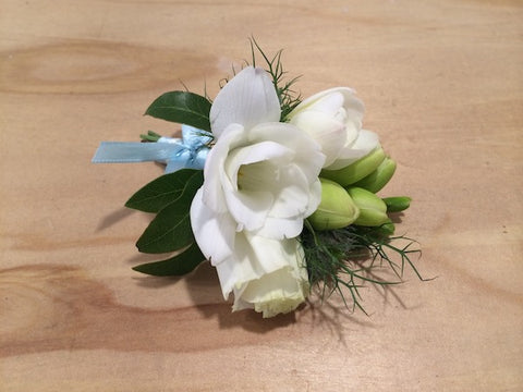 Basic White Freesia Corsage