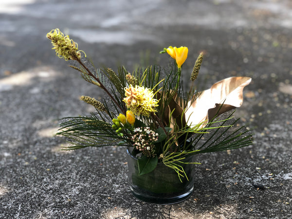 Grenvillea Spider-Man, Yellow Freesias, Gold-Sprayed Leaf Cocktail Arrangement