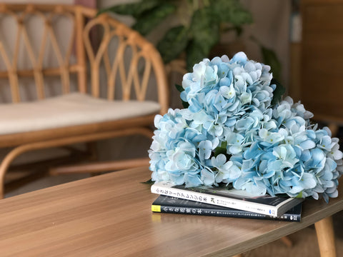 Faux Hydrangea - Sky-Blue, Single