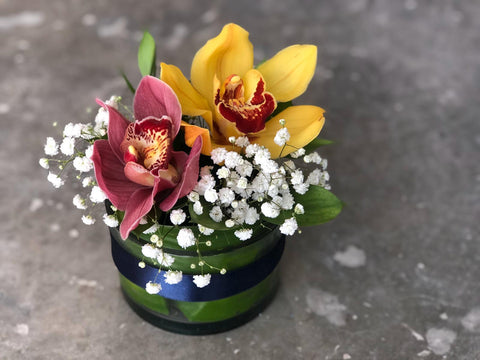 Two Cymbidiums Cocktail Arrangement