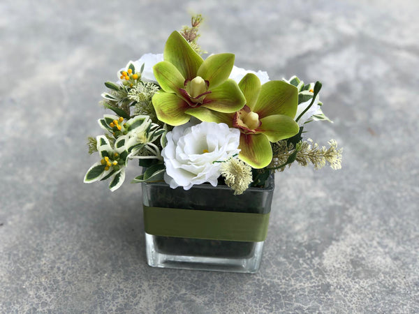 Faux Green Cymbidiums And White Eustomas in a Square Vase