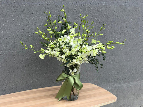 White Dendrobium Table Arrangement
