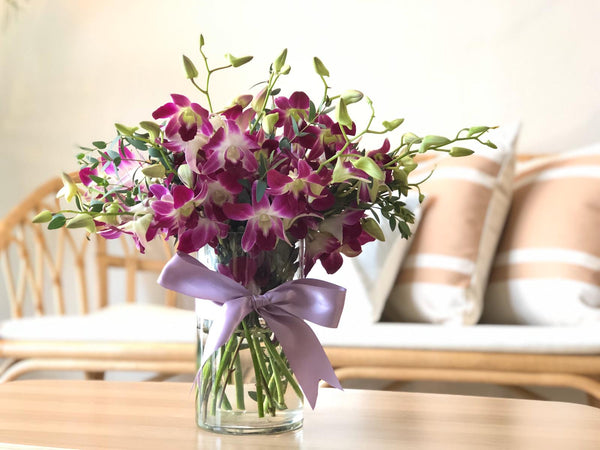 Two-Tone Purple Dendrobium Table Arrangement