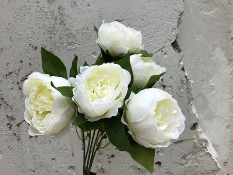 Faux Peonies Bunch - White