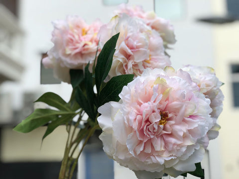 Faux Peonies Bunch -  Fluffy Pink