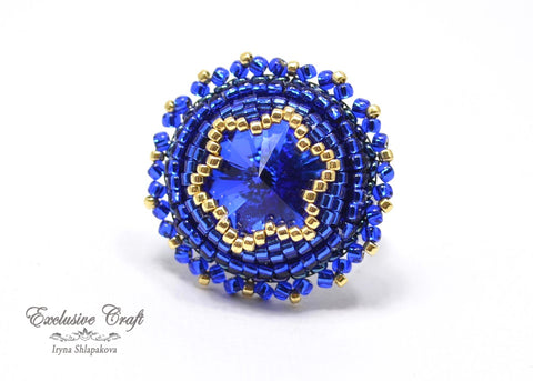 blue crystal beaded ring