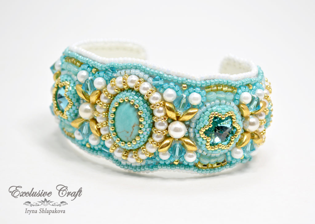 bead embroidered cuff bracelets