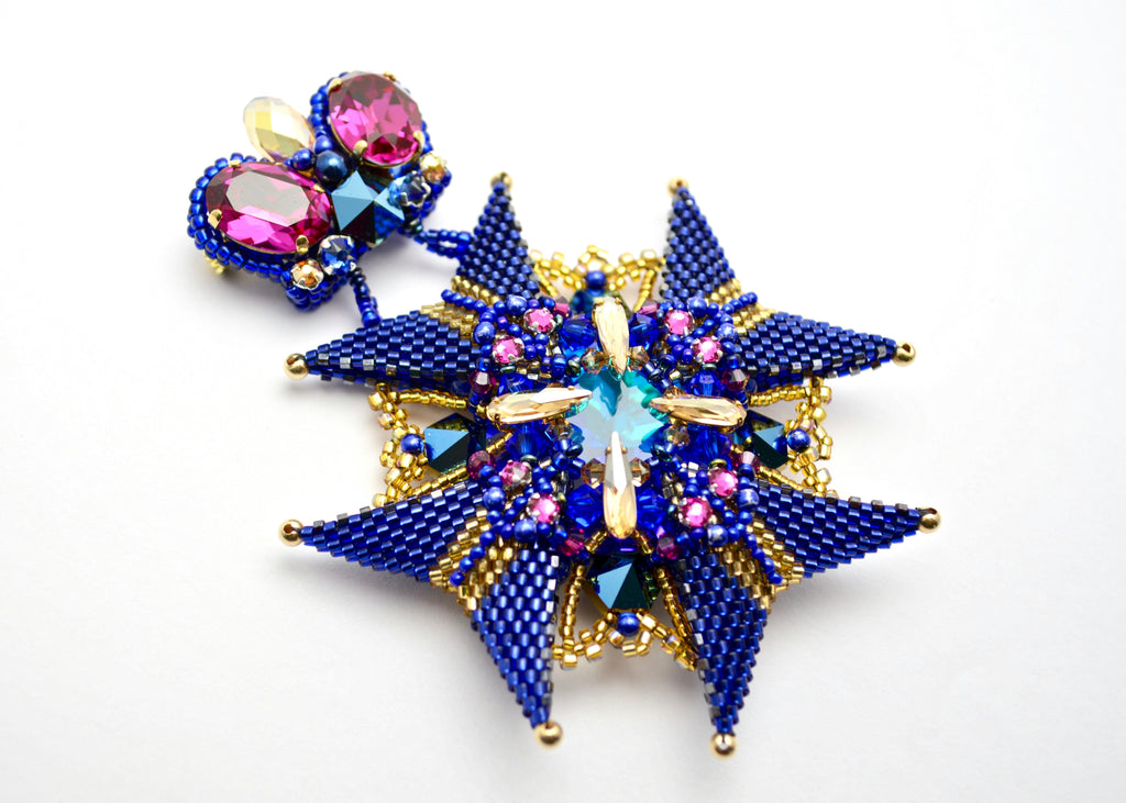 beaded brooch medal royal blue