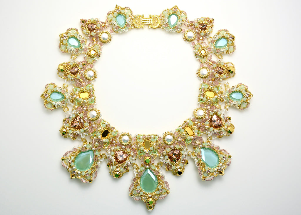 gold mint swarovski beaded neckalce