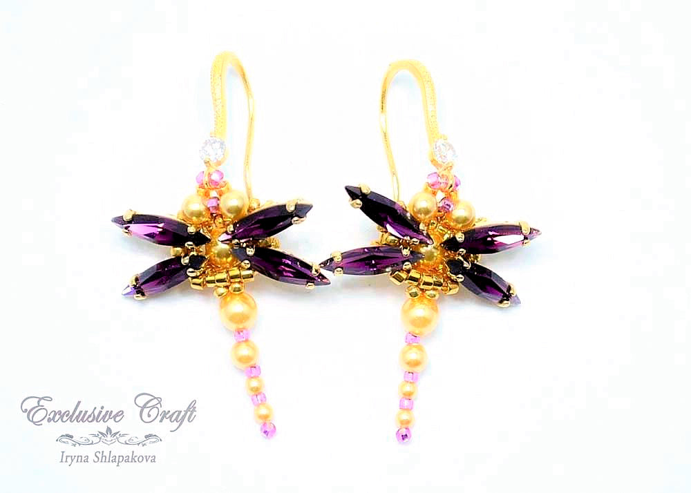 amethyst beaded Swarovski dragonfly earrings
