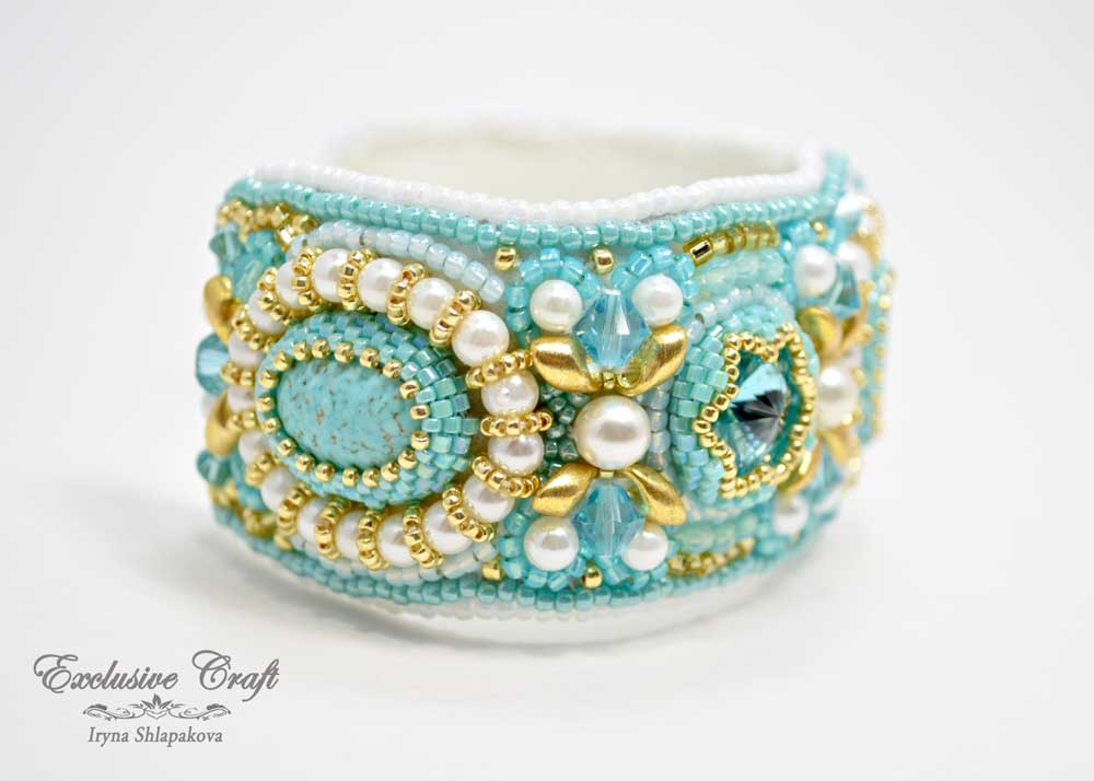 tutorial bead embroidered cuff bracelet exclusive craft