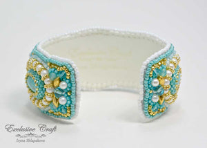 tutorial bead embroidered cuff bracelet for beginer