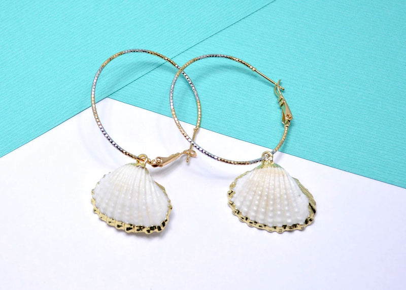 natural sea shell hoop earrings