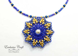 handmade swarovski necklace blue gold