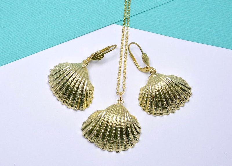natural sea shell jewelry set gold