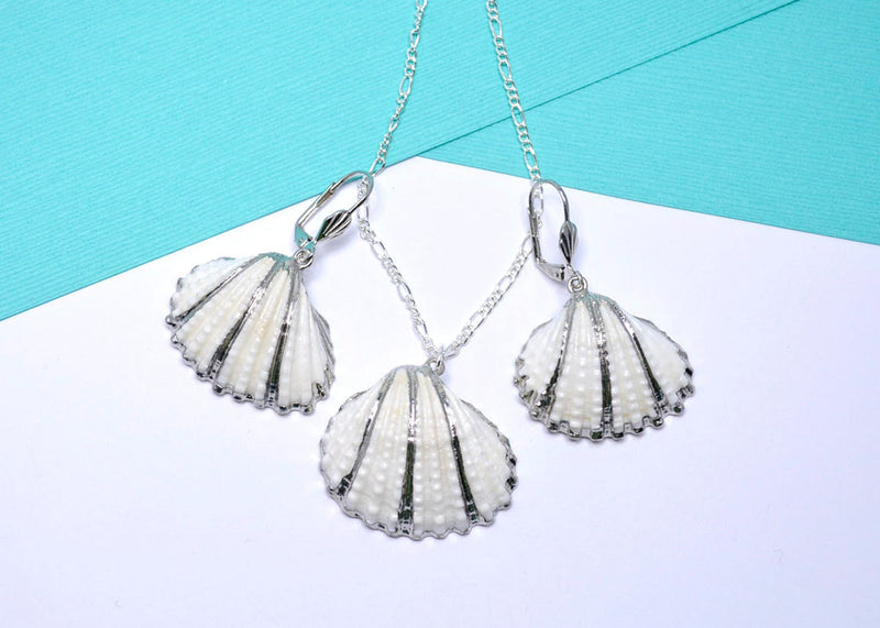natural sea shell jewelry set silver