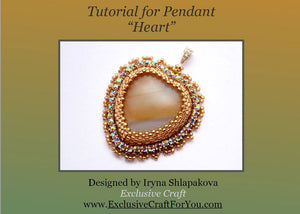 heart bead embroidery beading tutorial pattern PDF