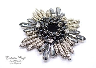 Swarovski black silver beaded brooch