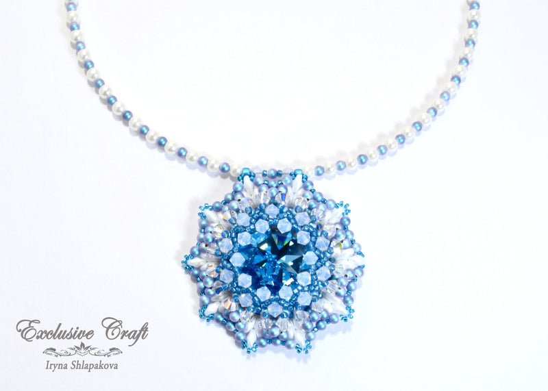 Handmade beaded blue white Swarovski necklace
