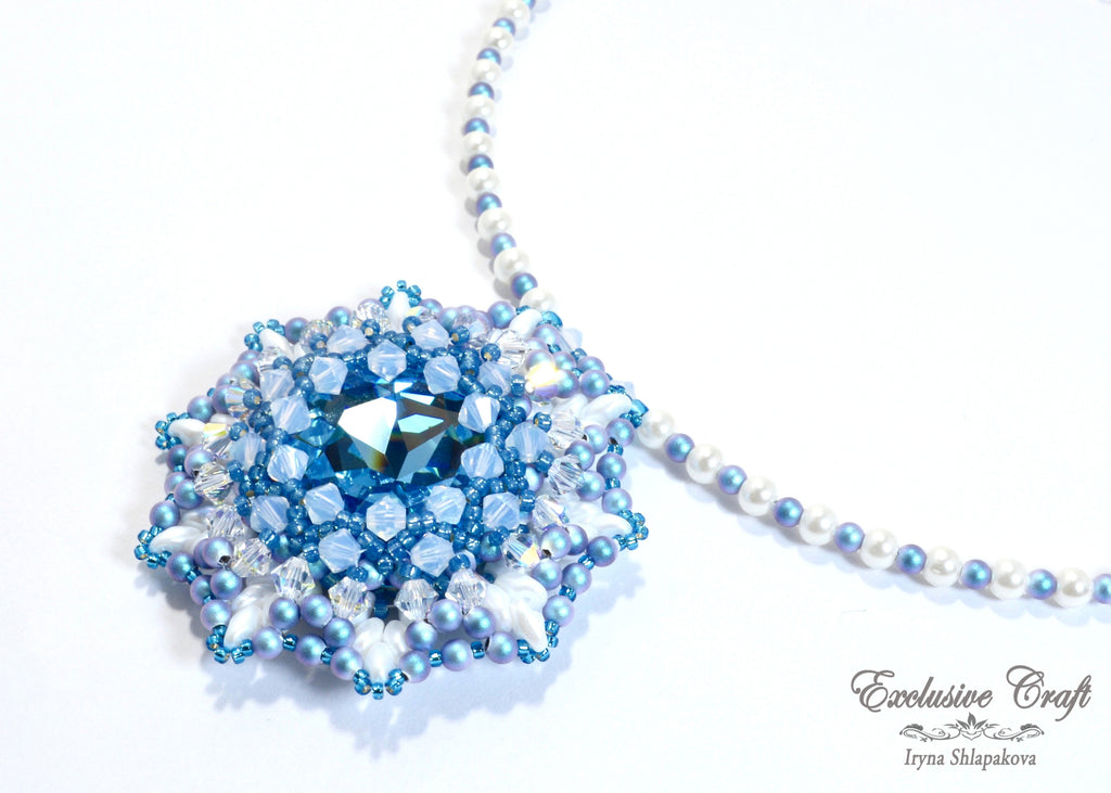 Unique beaded Swarovski blue white pendant
