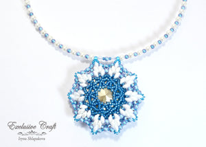 Handcrafted beaded necklace with Swarovski blue