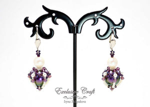 beaded earrings with swarovski purple white
