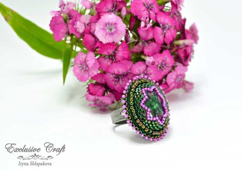 handcrafted bead embroidered green pink ring