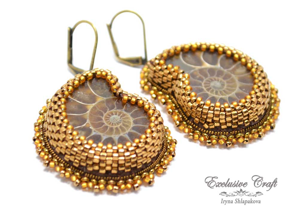 unique beaded ammonite earrings