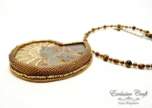 handcrafted bead embroidered fossil jewelry