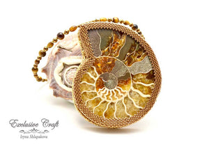 leather back ammonite jewelry