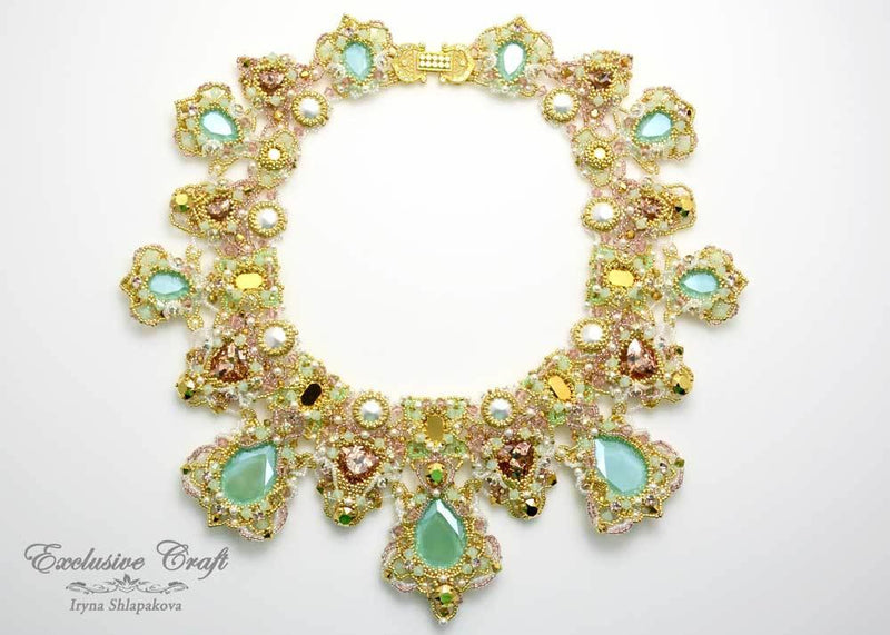 unique handmade beaded green gold swarovski necklace