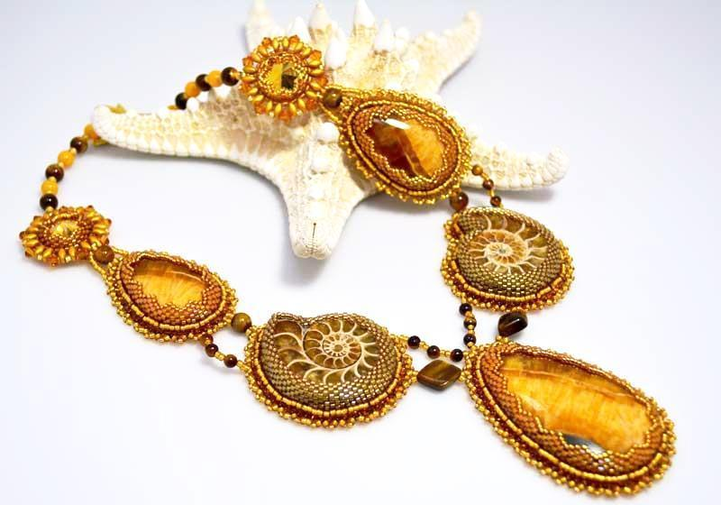 handcrafted bead embroidered golden ammonite necklace