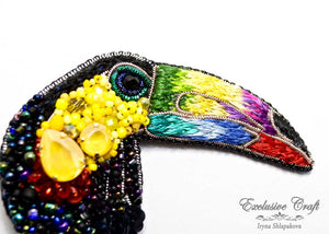 handcrafted beaded toucan brooch with Swarovski, wire purl