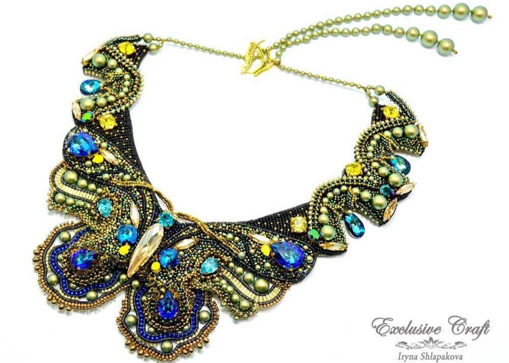 handmade beaded blue green gold swarovski necklace butterfly