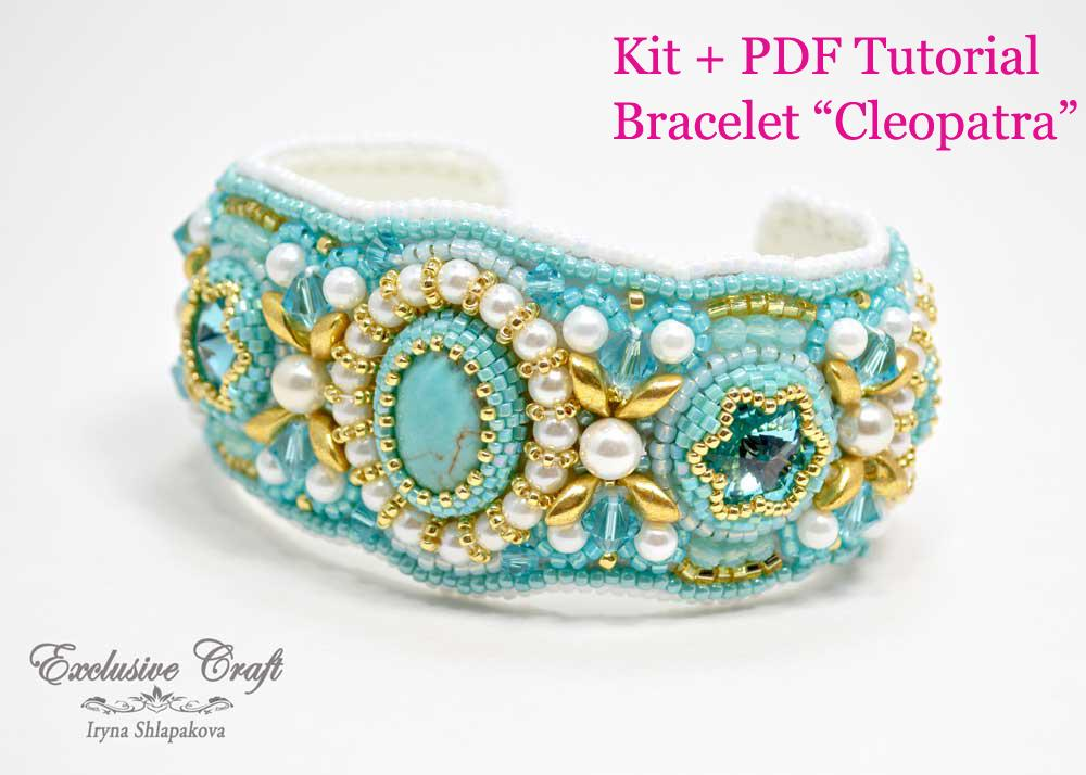 tutorial and kit for bead embroidered cuff bracelet for beginner