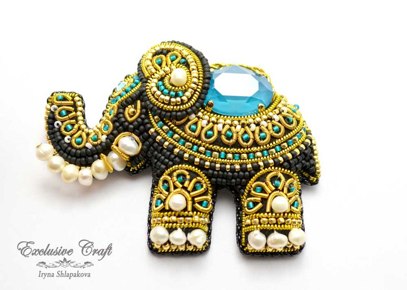 bead embroidered brooch Elephant with swarovski