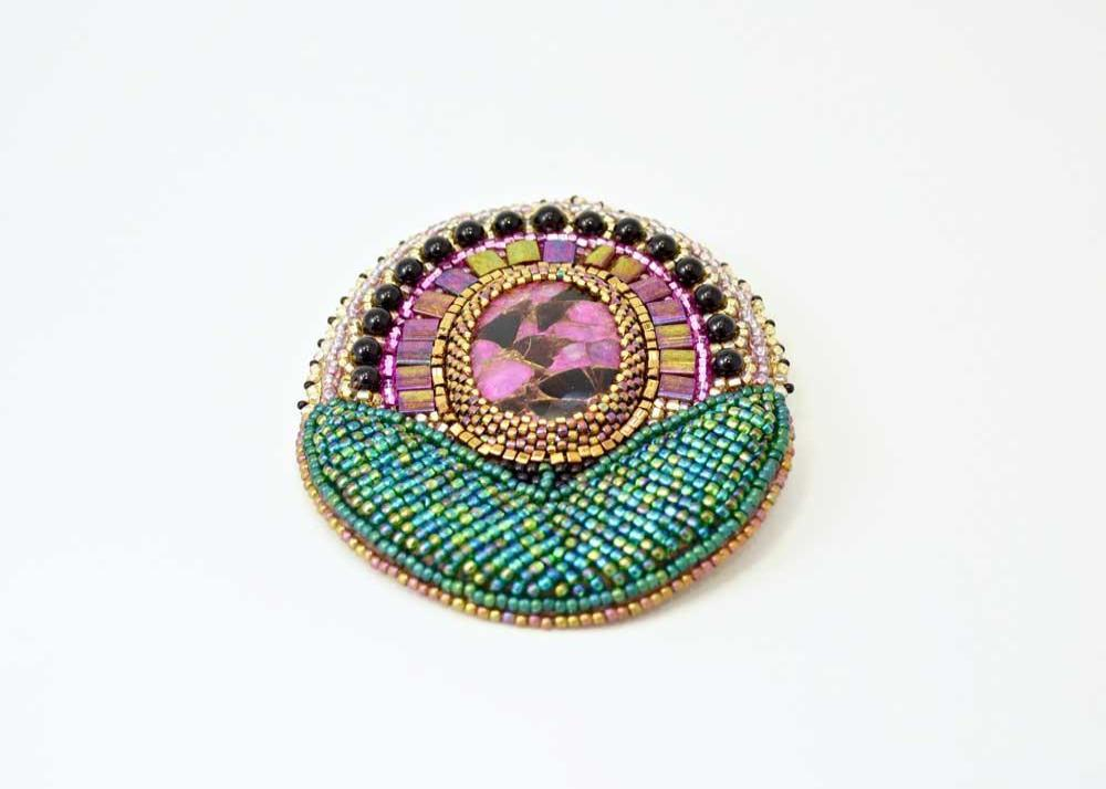bead embroidered pendant brooch transformer