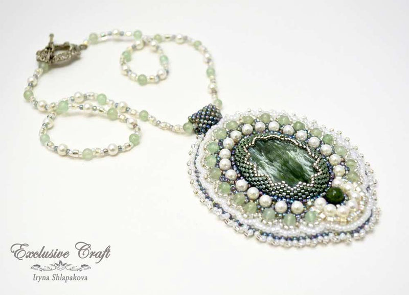 unique beaded green pendant