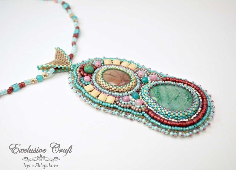 bead embroidery pendant green